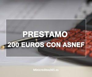 Prestamo 200 euros con ASNEF